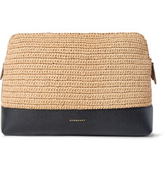 Burberry Suede-Trimmed Raffia and Full-Grain Leather Document Holder