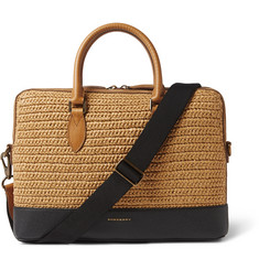 Burberry Raffia and Leather Briefcase