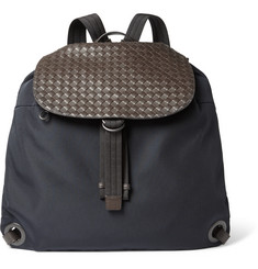 Bottega Veneta Intreccatio Leather-Panelled Canvas Backpack
