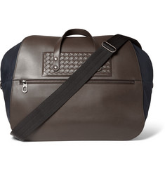 Bottega Veneta Intreccatio Leather-Panelled Canvas Duffle Bag