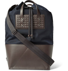 Bottega Veneta Intreccatio Leather-Panelled Canvas Tote Bag