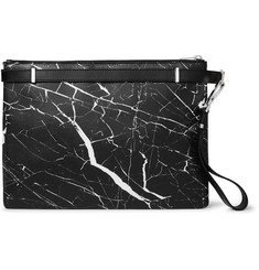 Balenciaga - Marble-Print Leather Document Holder