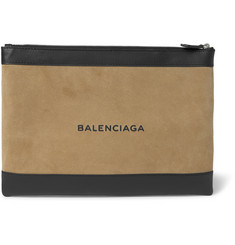 Balenciaga Suede and Leather Pouch