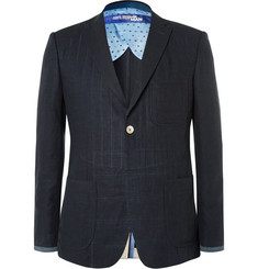 Junya Watanabe Navy Slim-Fit Elbow Patch Linen Blazer