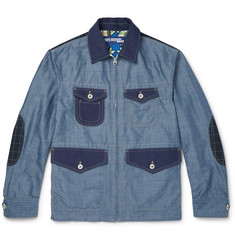 Junya Watanabe Slim-Fit Patchwork Cotton and Linen-Blend Chambray Jacket