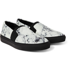 Balenciaga - Marble-Print Leather Sneakers
