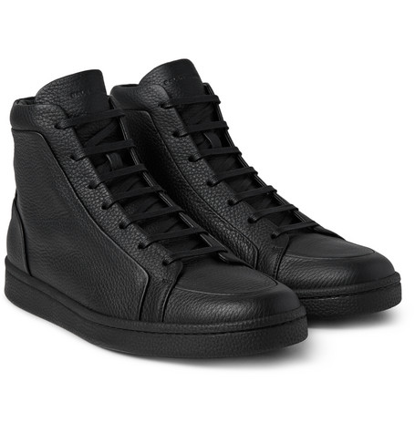 Full-grain Leather High-top Sneakers - Black