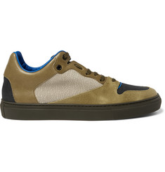Balenciaga Panelled Leather and Cracked-Nubuck Sneakers