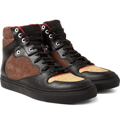Balenciaga - Leather, Textured-Nubuck and Cork High-Top Sneakers