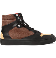 Balenciaga Leather, Textured-Nubuck and Cork High-Top Sneakers