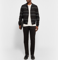 Balenciaga Striped Cotton-Blend Jacquard Bomber Jacket