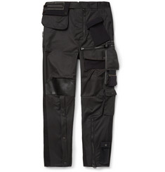 Balenciaga Tapered Leather-Trimmed Satin Cargo Trousers