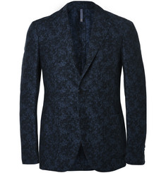 Incotex Navy Slim-Fit Floral Linen and Cotton-Blend Suit Jacket