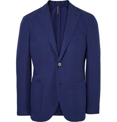 Incotex Blue Chinolino Linen and Cotton-Blend Blazer