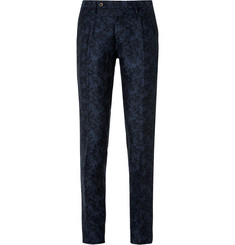 Incotex - Navy Slim-Fit Floral Linen and Cotton-Blend Suit Trousers