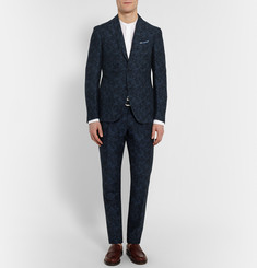 Incotex Navy Slim-Fit Floral Linen and Cotton-Blend Suit Trousers