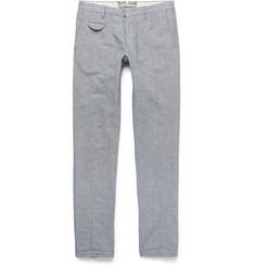 Incotex - Slim-Fit Puppytooth Cotton and Linen-Blend Trousers