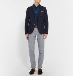 Incotex Slim-Fit Puppytooth Cotton and Linen-Blend Trousers