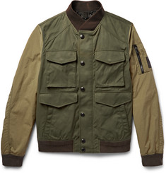 Belstaff Ashvale Panelled Twill and Canvas Bomber Jacket
