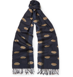 Dries Van Noten Frankie Lip-Print Cotton and Silk-Blend Scarf