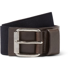 Dries Van Noten 4cm Navy Leather-Trimmed Elasticated Belt