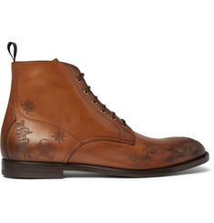 Alexander McQueen Laser-Detailed Burnished-Leather Boots