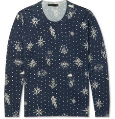 Alexander McQueen Slim-Fit Printed Cotton and Silk-Blend Sweater
