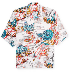 Alexander McQueen - Oversized Camp-Collar Printed Voile Shirt