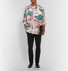 Alexander McQueen Oversized Camp-Collar Printed Voile Shirt