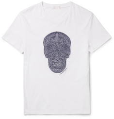 Alexander McQueen Slim-Fit Skull-Embroidered Cotton-Jersey T-Shirt