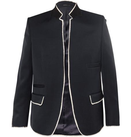 Navy Raw-Edge Wool Blazer