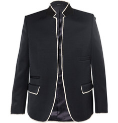 Alexander McQueen Navy Raw-Edge Wool Blazer