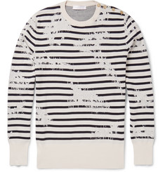 Alexander McQueen Striped Distressed Cotton-Blend Jersey Sweater