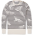 Alexander McQueen - Striped Distressed Cotton-Blend Jersey Sweater