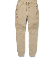 Balmain Tapered Biker-Style Cotton-Jersey Sweatpants