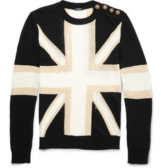 Balmain Union Jack Linen and Cotton-Blend Sweater
