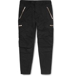 Balmain Slim-Fit Zip-Detailed Cotton-Twill Trousers