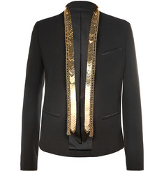 Balmain Black Slim-Fit Embellished Cotton Blazer