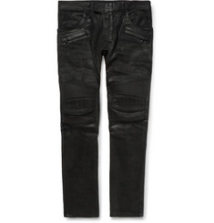 Balmain - Skinny-Fit Waxed-Denim Jeans