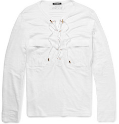 Balmain Slim-Fit Laced-Placket Linen T-Shirt