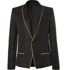 Haider Ackermann Black Slim-Fit Gold-Trimmed Linen And Silk-Blend Blazer