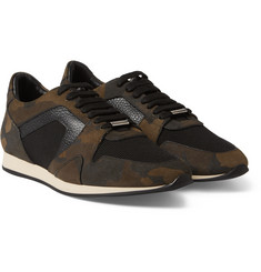 Burberry Shoes & Accessories - Camouflage-Print Nubuck, Textured-Leather and Mesh Sneakers