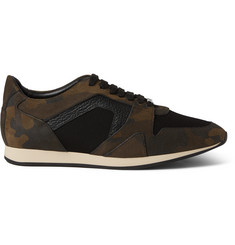 Burberry Shoes & Accessories Camouflage-Print Nubuck, Textured-Leather and Mesh Sneakers