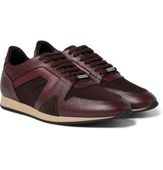 Burberry - The Field Panelled Leather and Mesh Sneakers