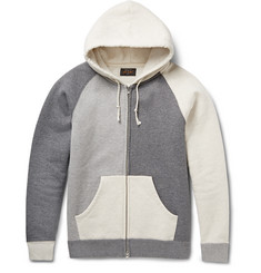 Beams Plus Colour-Block Fleece-Back Cotton-Jersey Hoodie