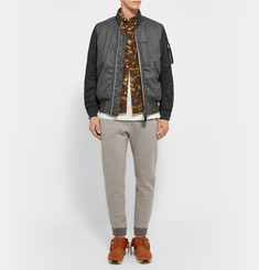 Beams Plus Two-Tone Wool-Blend Flannel Bomber Jacket