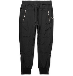 Wooyoungmi - Tapered Grosgrain-Trimmed Textured-Shell Trousers