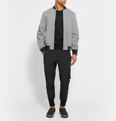 Wooyoungmi Tapered Grosgrain-Trimmed Textured-Shell Trousers