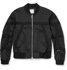 Wooyoungmi Grosgrain-Trimmed Textured-Shell Bomber Jacket
