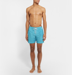 Isaia - Floral-Print Mid-Length Swim Shorts